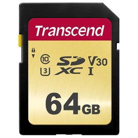 《新品アクセサリー》Transcend (トランセンド) SDXCカード 64GB V30 UHS-I U3 (MLC) TS64GSDC500S【KK9N0D18P】
