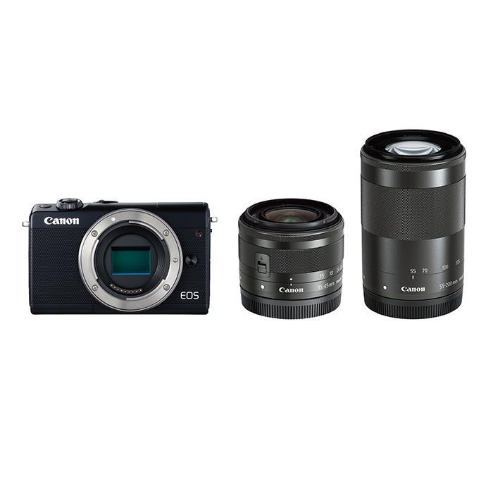 《新品》 Canon (キヤノン) EOS M100 ダブルズームキット ブラック【¥5,000-キャッシュバック対象】[ ミラーレス一眼カメラ | デジタル一眼カメラ | デジタルカメラ ] 【KK9N0D18P】