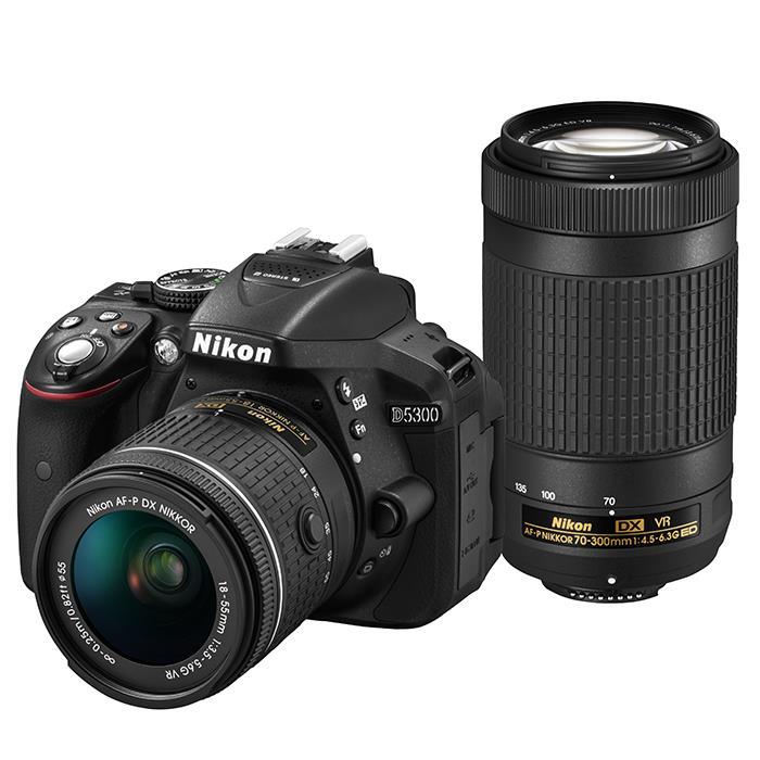 《新品》 Nikon(ニコン) D5300 AF-P ダブルズームキット ブラック [ デジタル一眼レフカメラ | デジタル一眼カメラ | デジタルカメラ ]【KK9N0D18P】