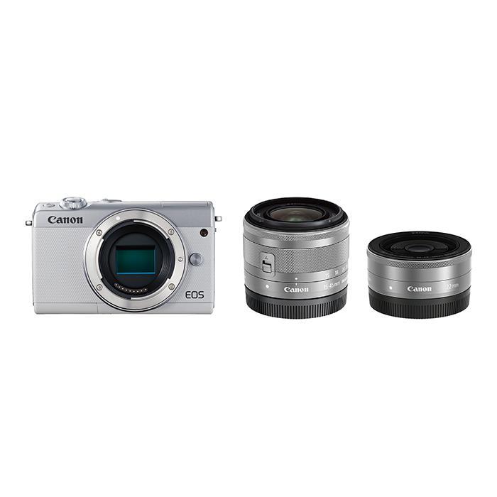 《新品》 Canon (キヤノン) EOS M100 ダブルレンズキット ホワイト [ ミラーレス一眼カメラ   デジタル一眼カメラ   デジタルカメラ ] 【KK9N0D18P】