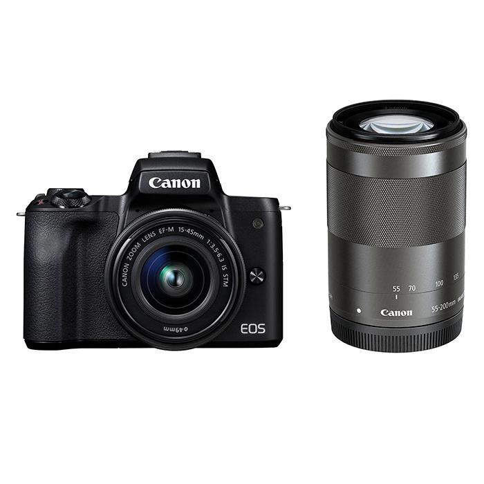《新品》 Canon (キヤノン) EOS Kiss M ダブルズームキット ブラック[ ミラーレス一眼カメラ | デジタル一眼カメラ | デジタルカメラ ]【KK9N0D18P】