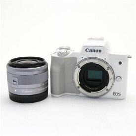 【あす楽】 【中古】 《美品》 Canon EOS Kiss M EF-M15-45 IS STM レンズキット ホワイト [ デジタルカメラ ]