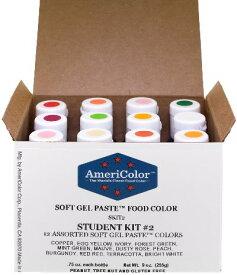 アメリカラー 12色セット Studentカラー# 2【21g】Americolor Soft Gel Paste Student Color Kit 12 pc.