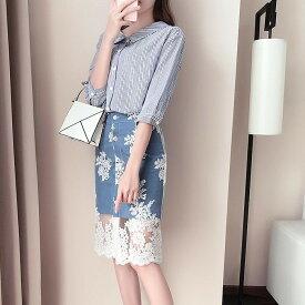 セットアップ シャツ & スカート レース ストライプ 春 レディースファッション 韓国ファッション