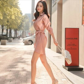 カシュクール スリム 長袖 ミニ ショート ワンピース レディースファッション 韓国ファッション S M L