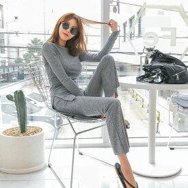セットアップ アシンメトリー シャツ カジュアル パンツ グレー デイリー ルームウエア レディースファッション 韓国ファッション