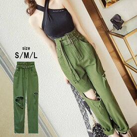 レディース ソフト デニム パンツ ダブルベルト ダメージ クラッシュ ハイウエスト グリーン 韓国ファッション レディースファッション
