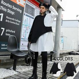 レディース 長袖 シャツ バイカラー モード系 ホワイト ブラック モード コントラスト レディースファッション