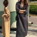 【送料無料】レディース 長袖 Vネック ロング シャツ ワンピース 春 ルーズ 韓国 ファッション レディースファッション tyk-00715