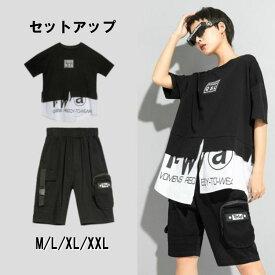 【送料無料】レディース セットアップ 半袖 レイヤード モード系 Tシャツ 五分丈 パンツ ブラック レディースファッション