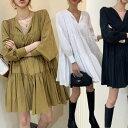 【送料無料】ティアード チュニック ワンピース 長袖 スリットネック 韓国 ファッション レディースファッション