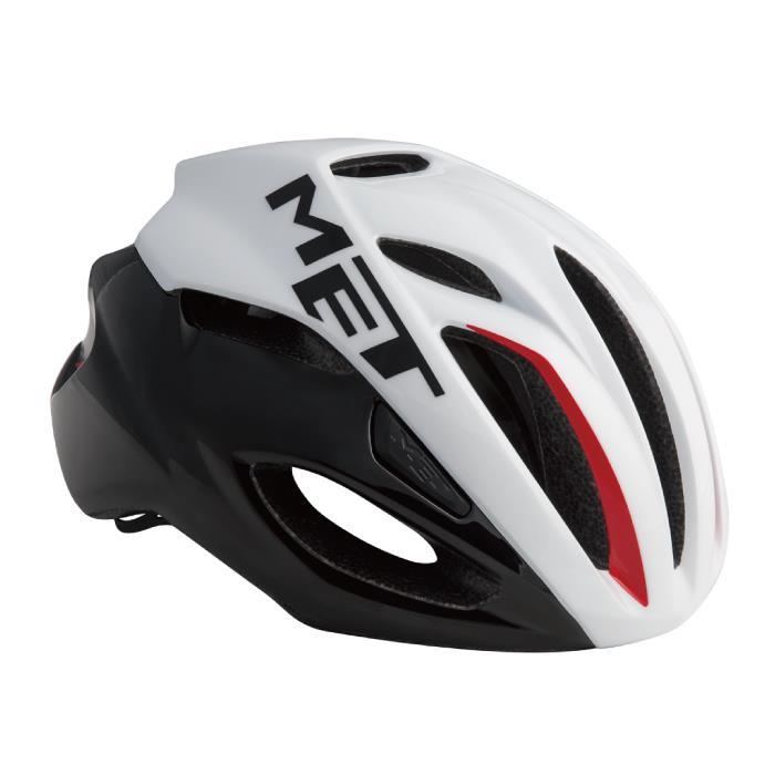 MET(メット) RIVALE HES リヴァーレ ホワイト/ブラック/レッド サイズM(54/58cm) ヘルメット