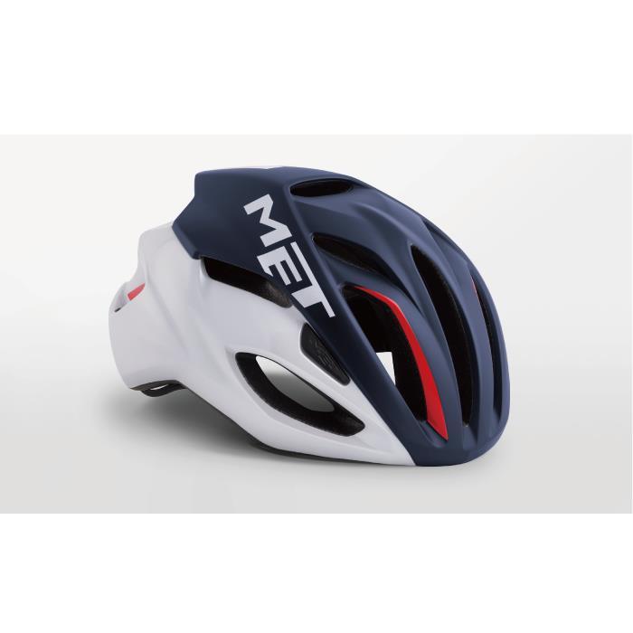 MET(メット) RIVALE HES リヴァーレ ミッドナイトブルー/ホワイト/レッド サイズM(54/58cm) ヘルメット