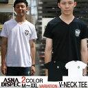Tシャツ メンズ Vネック 半袖 ティーシャツ アスナディスペック アスナ ASNADISPEC M L XL XXL黒 ブラック 白 ホワイト プリント ブランド 人気 アメカジ ストリート系 ファ