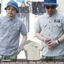 シャツ メンズ ワークシャツ 半袖シャツ ヒッコリー ASNADISPEC/アスナディスペック ストリート系 アメカジ M L XL XXL 大きいサイズ