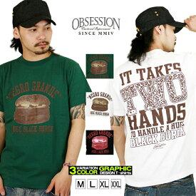 Tシャツ メンズ 半袖 ティーシャツ オブセッション XL XXL 2XL 3L 黒 ブラック 白 ホワイト プリント 大きいサイズ ワーク ルード系 ブランド 人気 アメカジ ストリート系 ファッション おしゃれ かっこいい /3045/ obst1110201