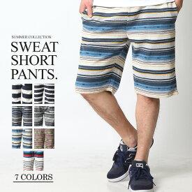 ショートパンツ メンズ ハーフパンツ ショーツ 短パン 半ズボン イージーパンツ ボーダー 総柄 ネイティブ柄 黒 ネイビー M L XL 2L LL 大きいサイズ