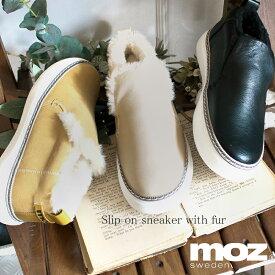 モズ MOZ マニッシュ ファーつき 厚底 スリッポン 軽量 シューズ レディース プラットフォーム 履きやすい カジュアル 靴 21AW