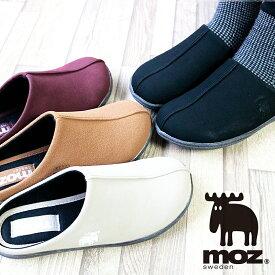 MOZ モズ ワンポイント 刺繍 スリッポン サボサンダル 外履き 北欧 スエーデン エルク ヘラジカ 靴 レディース コンフォート 3E 柔らかい サボ クッション スリッパ 柔らかい aw 人気