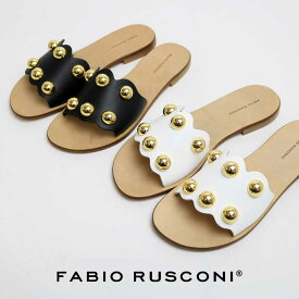 2019年春夏新作 FABIO RUSCONI ファビオルスコーニ DG10 VACC 丸スタッズ レザー ミュール サンダル 正規品 ローヒール フラット 靴 レディース ボールスタッズ ゴールド スカラップ ※靴袋なし。箱つぶれや輸送中の商品擦れの可能性あり、ご了承下さい。Ss