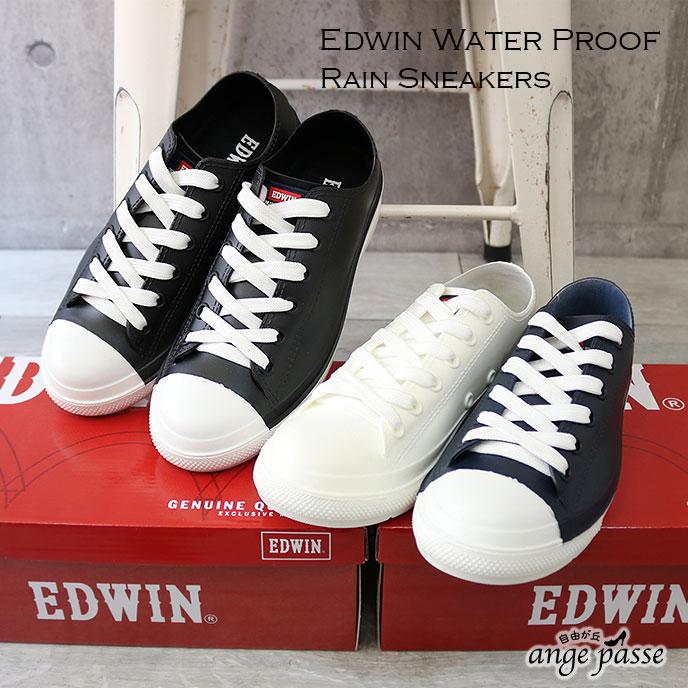 EDWIN エドウィン レインスニーカー 防水 撥水 レインシューズ 靴 レディース レースアップ 靴紐 かっこいい 歩きやすい ブランド 正規品 幅広 3E