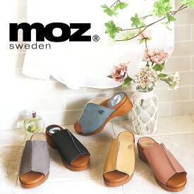 日本製 MOZ モズ ムラ染め加工 ワンポイント 刺繍 サボサンダル 北欧 スエーデン エルク ヘラジカ 靴 レディース サンダル サボ 柔らかい 人工皮革 ミュール つっかけ 楽ちん 軽量 軽い Madeinjapan ナチュラル 21SS san 人気