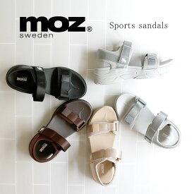 moz モズ ワンポイント ダブルベルト マジックテープ 厚底 スポーツ サンダル 靴 レディース スポーツサンダル ストラップ エルク ヘラジカ かわいい プラットフォーム スポサン かかとあり 履きやすい 21ss san 人気