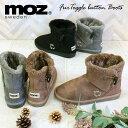 MOZ モズ ムートン調 フェイクファー トグルボタン ショートブーツ 外履き用 北欧 スエーデン エルク ヘラジカ 刺繍 …