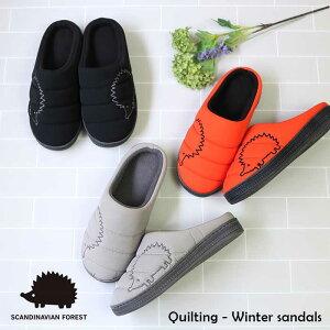 SCANDINAVIAN FOREST スカンジナビアンフォレスト キルティング 刺繍 ふかふか 冬サンダル 外履き 室外室内兼用 北欧 スエーデン ハリネズミ 靴 レディース スリッポン 暖かい 柔らかい 中綿入り