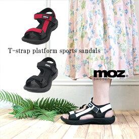 【パワークリアランス!】moz モズ Tストラップ ベルト マジックテープ スポーツ サンダル 靴 レディース かわいい プラットフォーム スポサン かかとあり 履きやすい 21ss san 人気