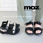 mozモズwベルトマジックテープスポーツサンダル靴レディースストラップエルクヘラジカかわいいプラットフォームスポサンかかとあり履きやすい21sssan人気