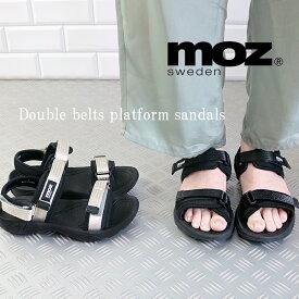 moz モズ wベルト マジックテープ スポーツ サンダル 靴 レディース ストラップ エルク ヘラジカ かわいい プラットフォーム スポサン かかとあり 履きやすい 21ss san 人気