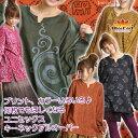 プリント ユニセックスキーネックプルオーバー アジアン エスニック ファッション Tシャツ