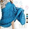 ゆるひらり. クリンクルマキシスカート [horse mackerel Ann ethnic Bohemian big size maxi long summer skirt adult knee length no sleeve] | Long skirt nylon rayon polyester | Dress medium |