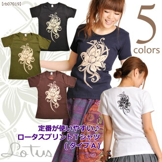 Easy to use Rakuten Japan sale ★ staple ♪ @T0305 Lotus print T shirt (type A)