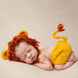 送料無料 Baby COSTUME ライオンデザイン イエロー 帽子 2点セット ニューボーンフォト 寝相アート 月齢フォト 新生児フォト 写真撮影 記念写真 赤ちゃん ベビー ニット 耳付き 楽天海外通販