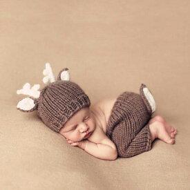 Baby COSTUME シカデザイン 鹿 帽子 2点セット ニューボーンフォト 寝相アート 月齢フォト 新生児フォト 写真撮影 記念写真 赤ちゃん ベビー ニット クリスマス ハロウイン