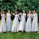 送料無料 ブライズメイド ドレス ロング フォーマルドレス パーティードレス Aライン フレア 結婚式 ワンピース マキ…