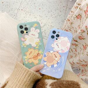 送料無料 iPhone12 カップル couple ケース クマ 熊 ベア bear ウサギ 兔 rabbit 浮き輪 花 SE2 iPhoneX アイフォン11 12mini 12promax XSMax Pro 8plus 7plus XR XS X 7 iPhone8 iPhoneXR ケース スマホケース カバー シンプル