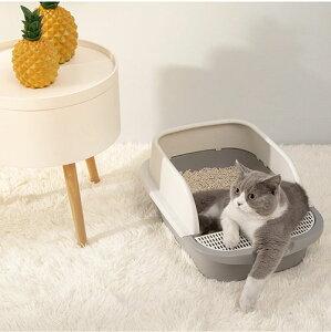 送料無料 猫 トイレ 猫トイレ キャットトイレ 散らかりにくいネコトイレ 本体 猫トイレ お掃除簡単 飛び散りにくい 30*45*18cm スコップ付き シンプル ペットトイレ おしゃれ 猫用品 グレー ピ