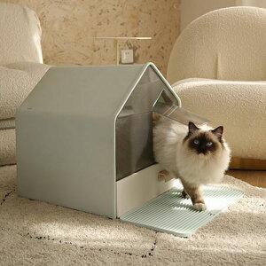 送料無料 猫 トイレ キャットトイレ ホウスタイプ house マットなし 散らかりにくいネコトイレ 本体 フルカバー 猫トイレ お掃除簡単 飛び散りにくい 大型猫 スコップ付き シンプル ペットト