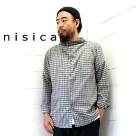 nisica (ニシカ) ガンジーシャツ グレーチェック (NIS-880) メンズ 長袖 シャツ ガンジーネック 送料無料 日本製 正規取扱店