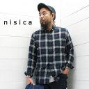 nisica(ニシカ)ボタンダウンシャツ フランネル ネイビー チェック(NIS-876)メンズ 長袖 シャツ ボタンダウン ネルシャツ 送料無料 日本製 正規取扱店