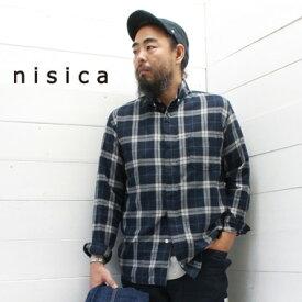 nisica(ニシカ)ボタンダウンシャツ ネイビー チェック(NIS-876)メンズ 長袖 シャツ ボタンダウン ネルシャツ 送料無料 日本製 正規取扱店