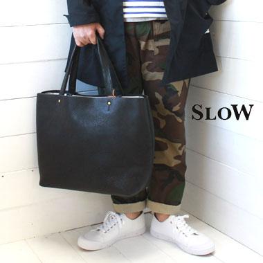 SLOW (スロウ) 栃木レザー ジップ トートバッグ L zip tote bag L【bono】49S143G slow バッグ 栃木レザー トート 革 バッグ 日本製 正規取扱店