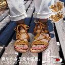 エスニック レースアップ サンダル シューズ 靴 ペタンコ ローヒール シンプル ファッション レディース フェス リゾ…