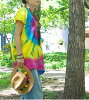 Long tops with the tie-dyed dyeing side button