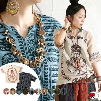 Ethnic cut-and-sew shirt blouse tops short sleeves ガネーシャヒンディー God プリントスキッパーファッションアジアンクルタキーネックメンズレディース man and woman combined use is unisex