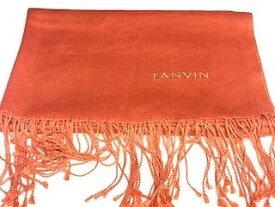 二度入荷 送料 500円 ランバン LANVIN スカーフ シルク 美品 オレンジ×カシミヤ×シルク 160×60 cm 【中古】