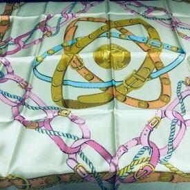二度入荷 送料 500円 CELINE セリーヌ スカーフ シルク ピンク チェーン 67センチ 服飾小物 正方形【最小送料】【中古】